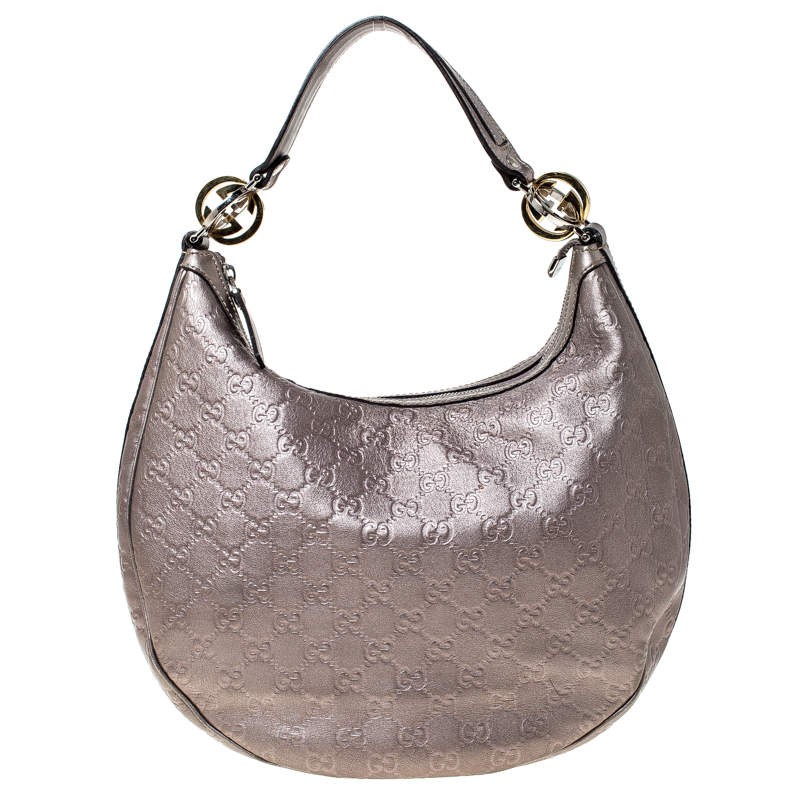 Gucci Metallic Pink Guccissima Canvas and Leather GG Twins Medium Hobo