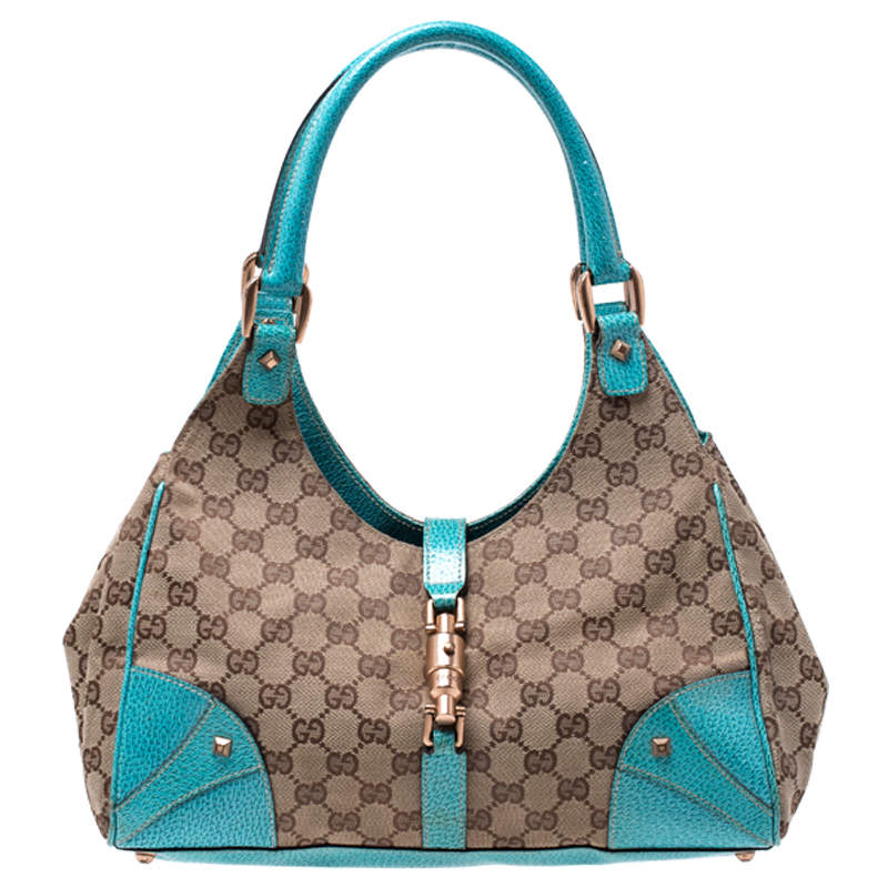 Gucci Beige/Blue GG Canvas and Leather Jackie Hobo