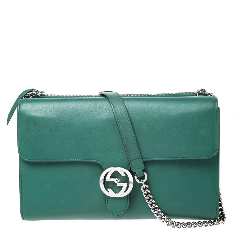 Gucci Green Leather Medium Interlocking GG Shoulder Bag
