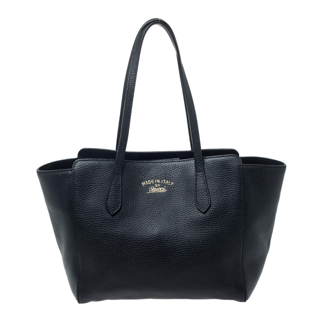 Gucci Black Leather Small Swing Tote