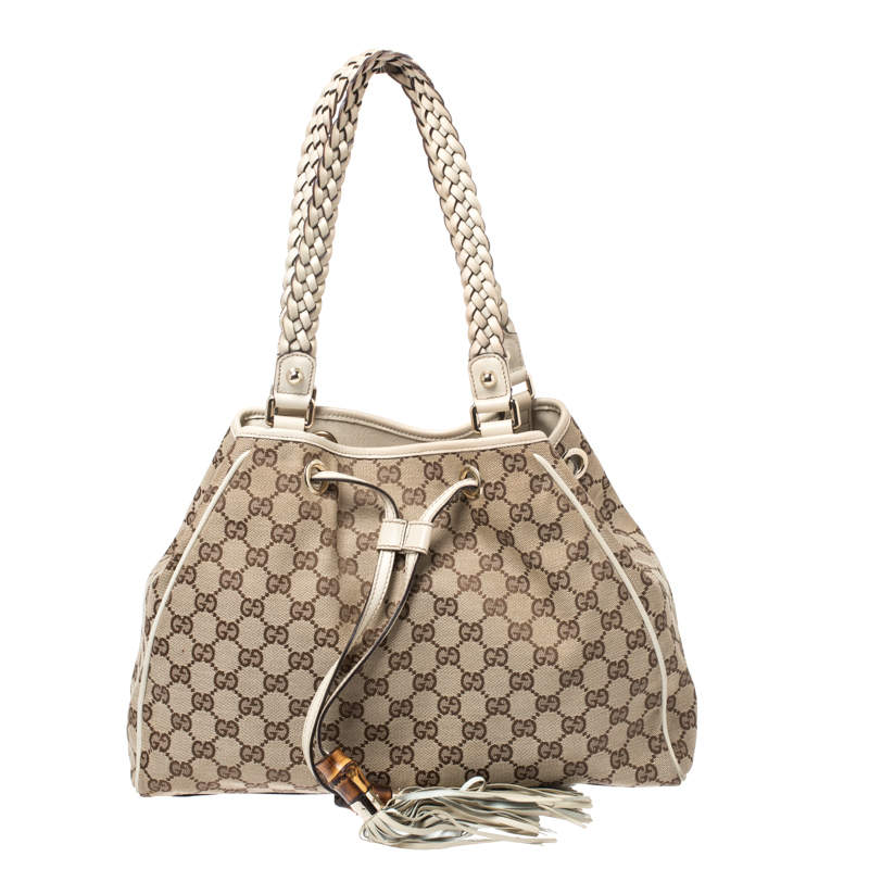 Gucci Beige/Cream GG Canvas and Leather Peggy Medium Shoulder Bag