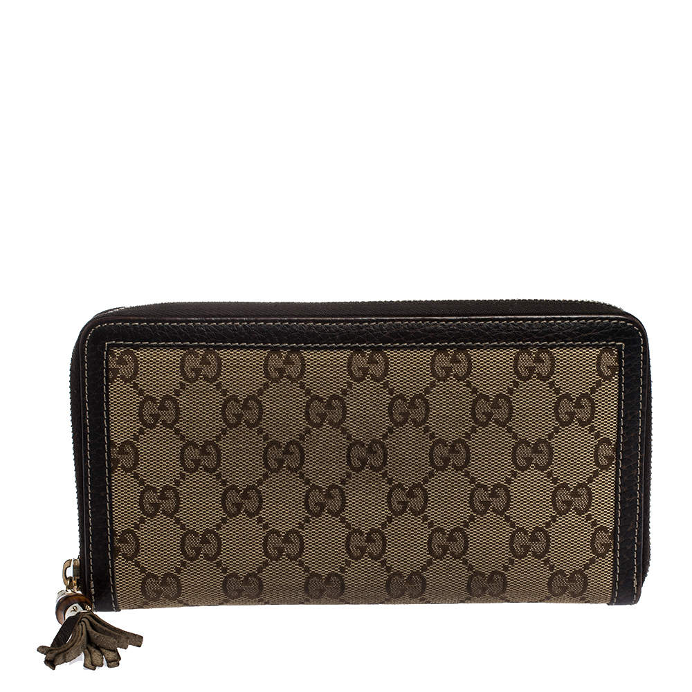 Gucci Beige GG Canvas and Leather Continental Zip Around Wallet