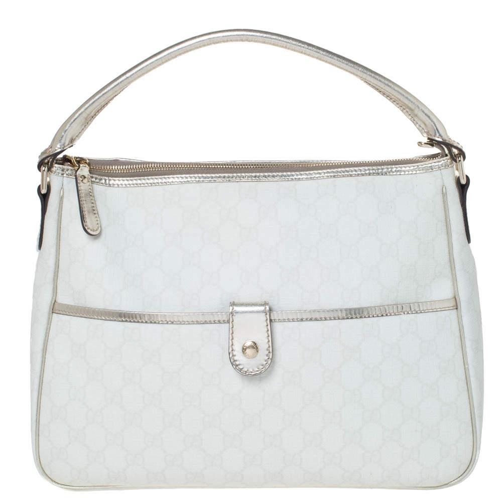 Gucci White/Gold GG Supreme Canvas and Patent Leather Plus Joy Hobo
