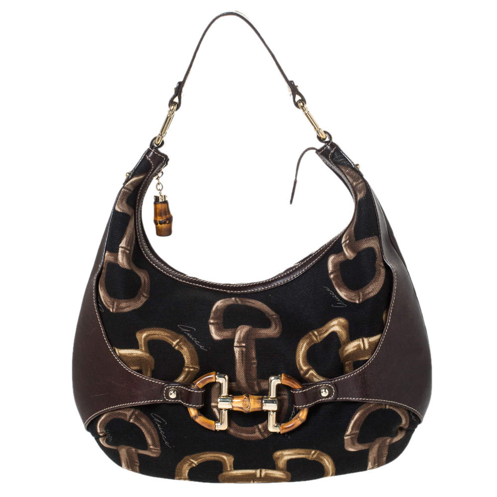 Gucci Brown/Black Printed Canvas and Leather Amalfi Horsebit Hobo