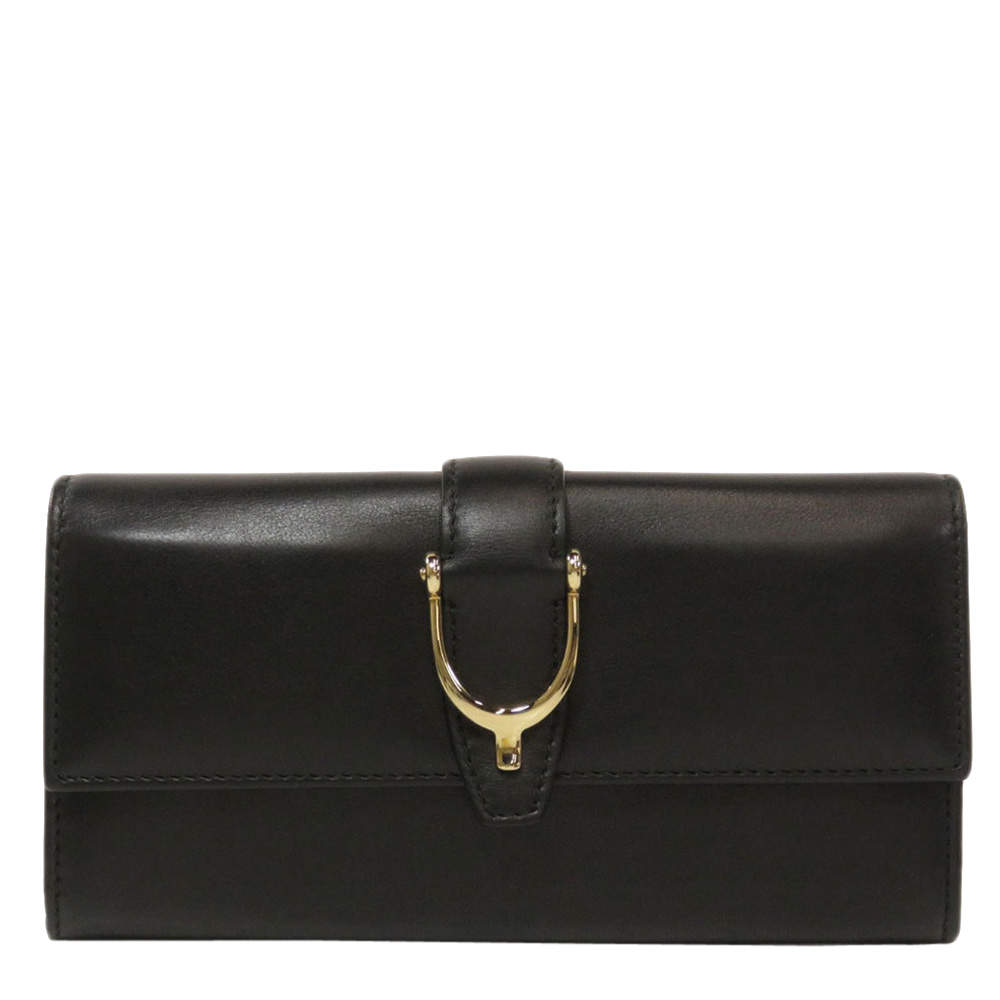 Gucci Black Leather Stiletto Wallet