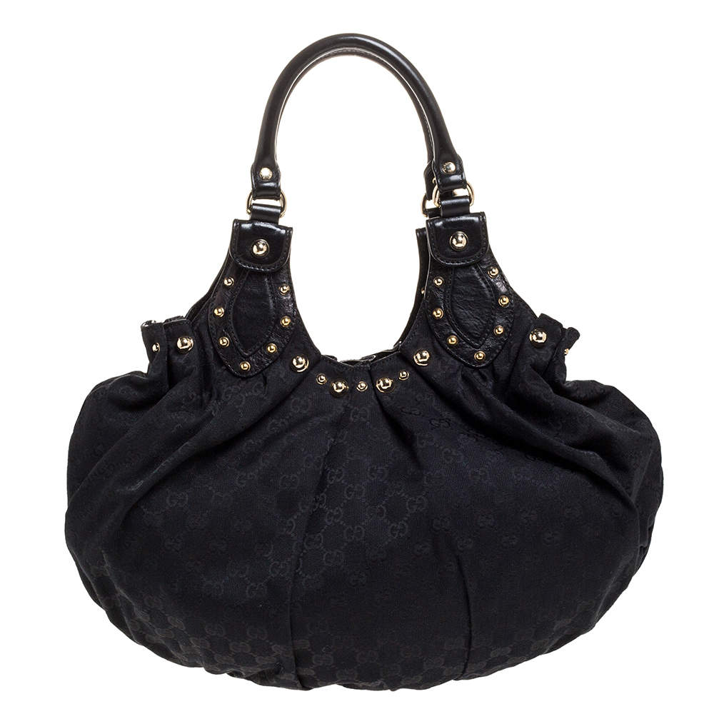 Gucci Black GG Canvas and Leather Studded Pelham Hobo