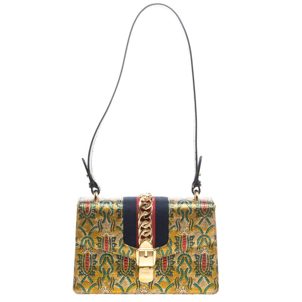 Gucci Multicolor Brocade Fabric Small Sylvie Shoulder Bag