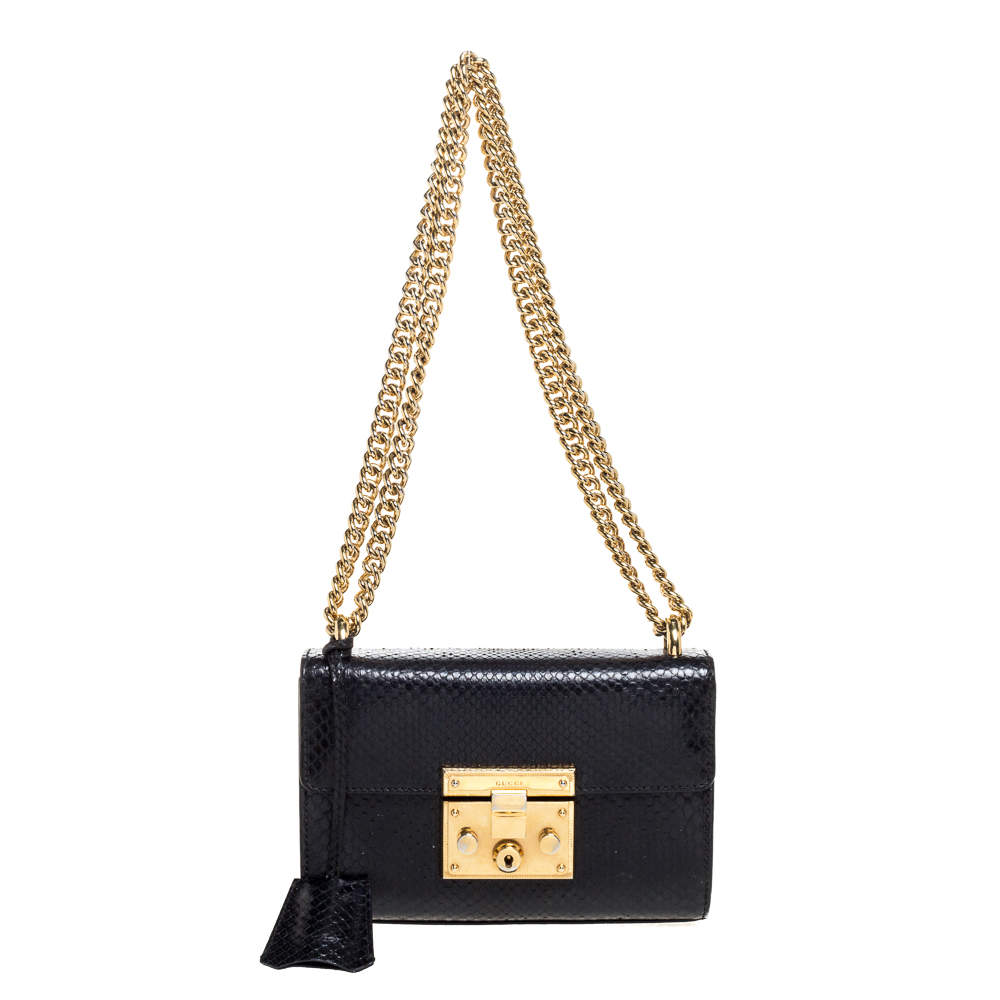 Gucci Black Python Small Padlock Shoulder Bag