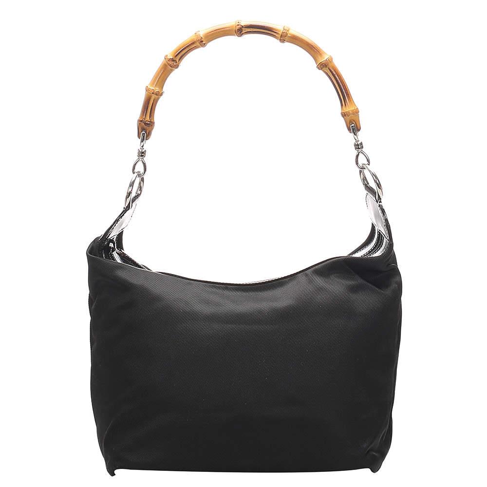 Gucci Black Nylon Bamboo Shoulder Bag