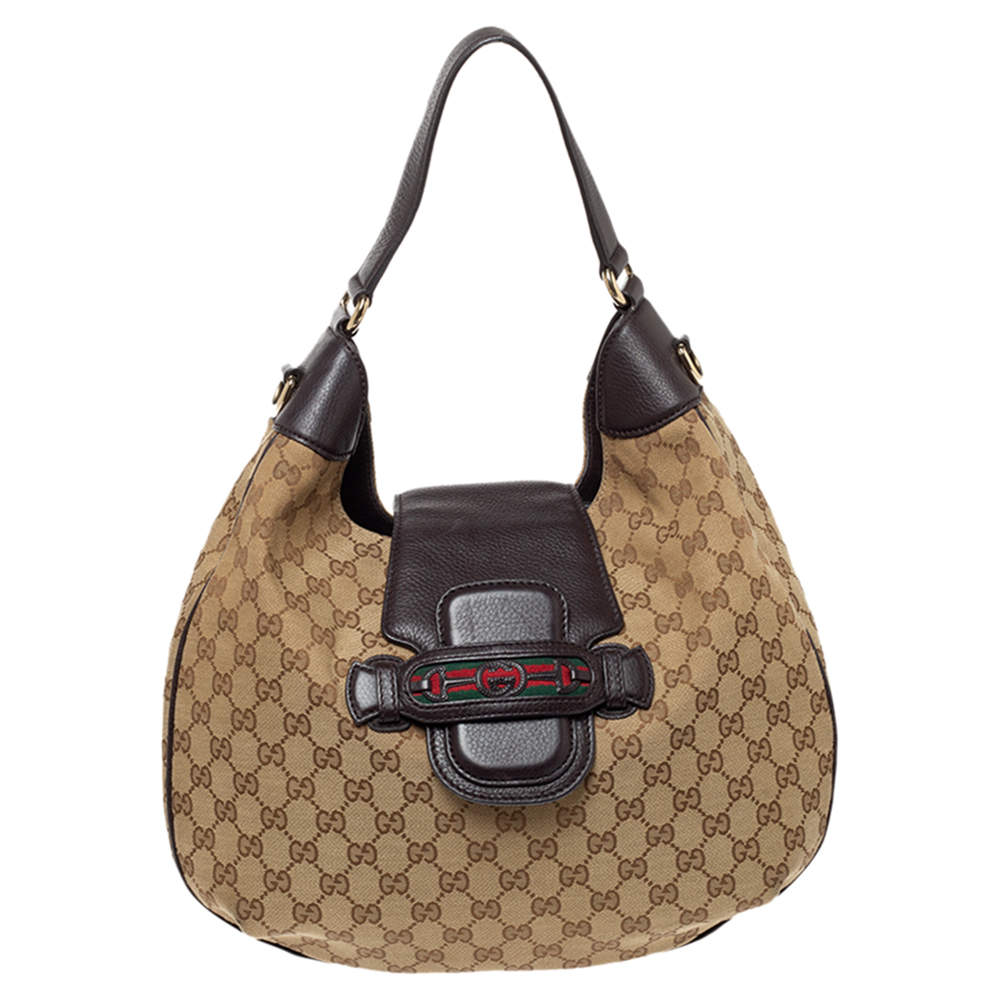 Gucci Beige/Brown GG Canvas and Leather Dressage Hobo
