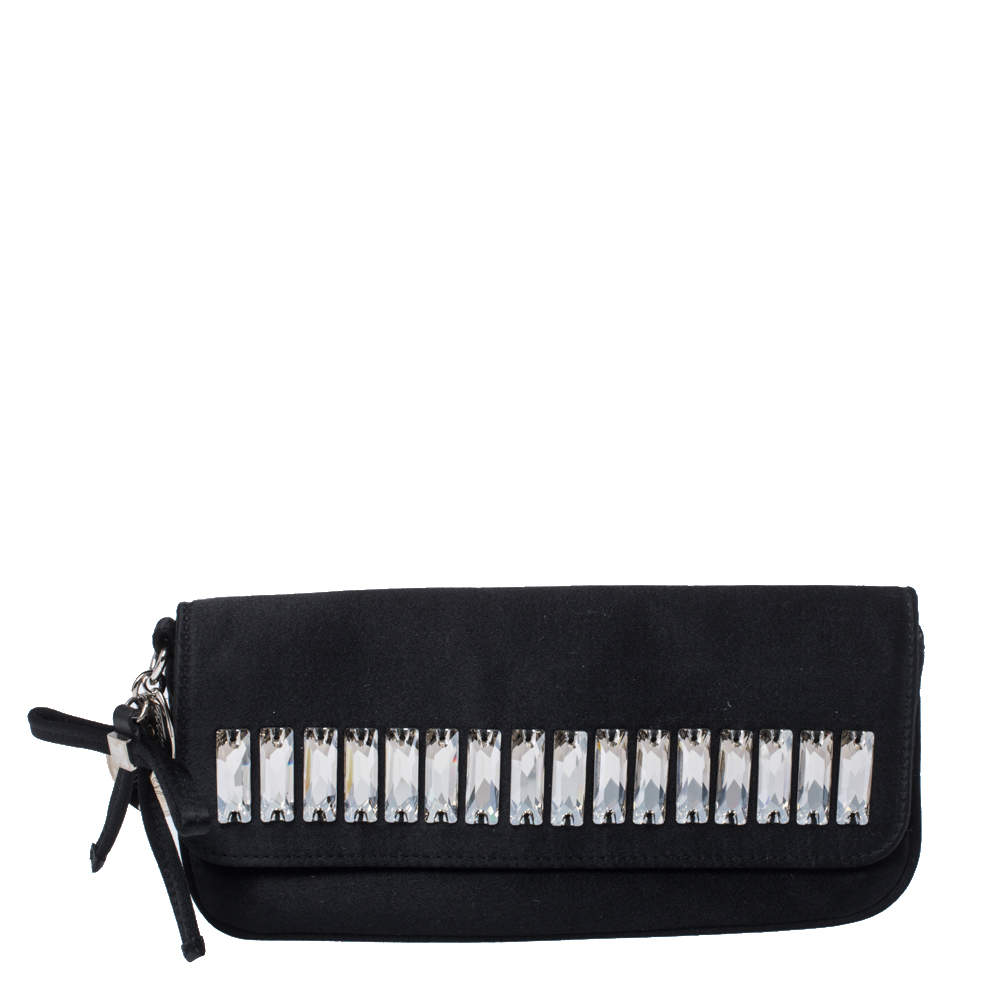 Gucci Black Satin Crystal Embellished Clutch
