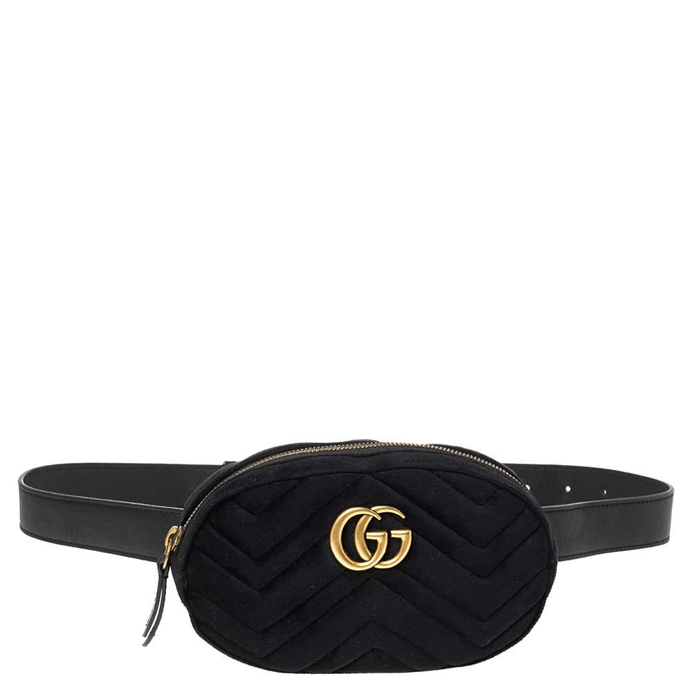 Gucci Black Chevron Velvet and Leather GG Marmont Belt Bag