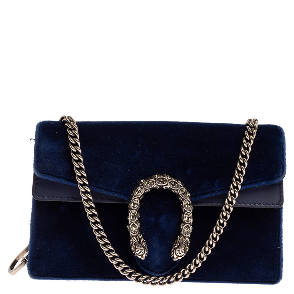 Gucci Blue Velvet and Leather Super Mini Dionysus Crossbody Bag