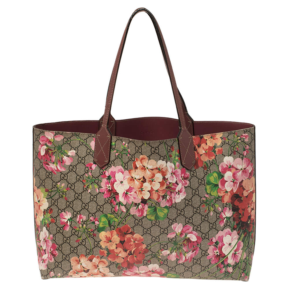 Gucci Multicolor Blooms GG Supreme Canvas and Leather Medium Reversible Tote