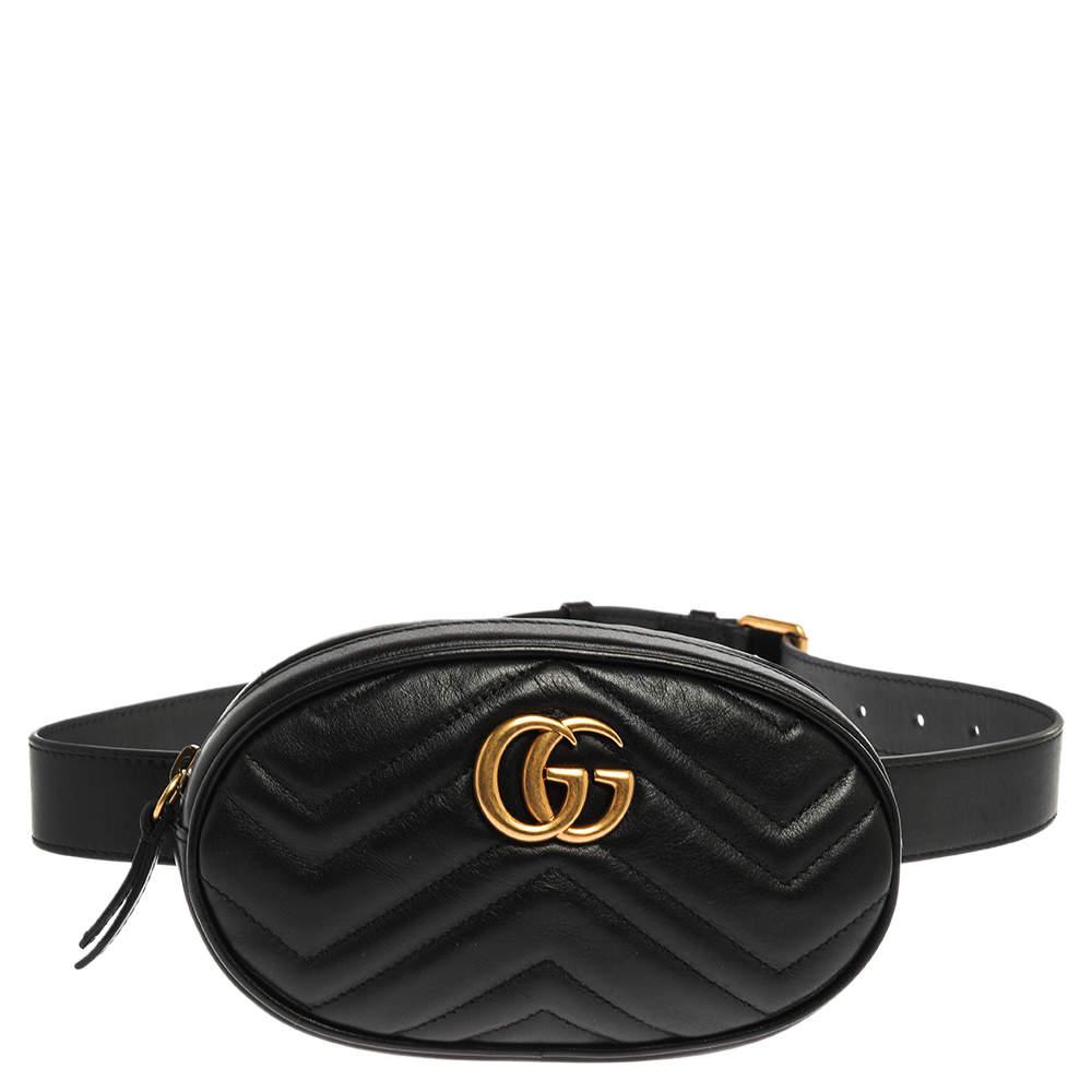 Gucci Black Matelassé Leather GG Marmont Belt Bag