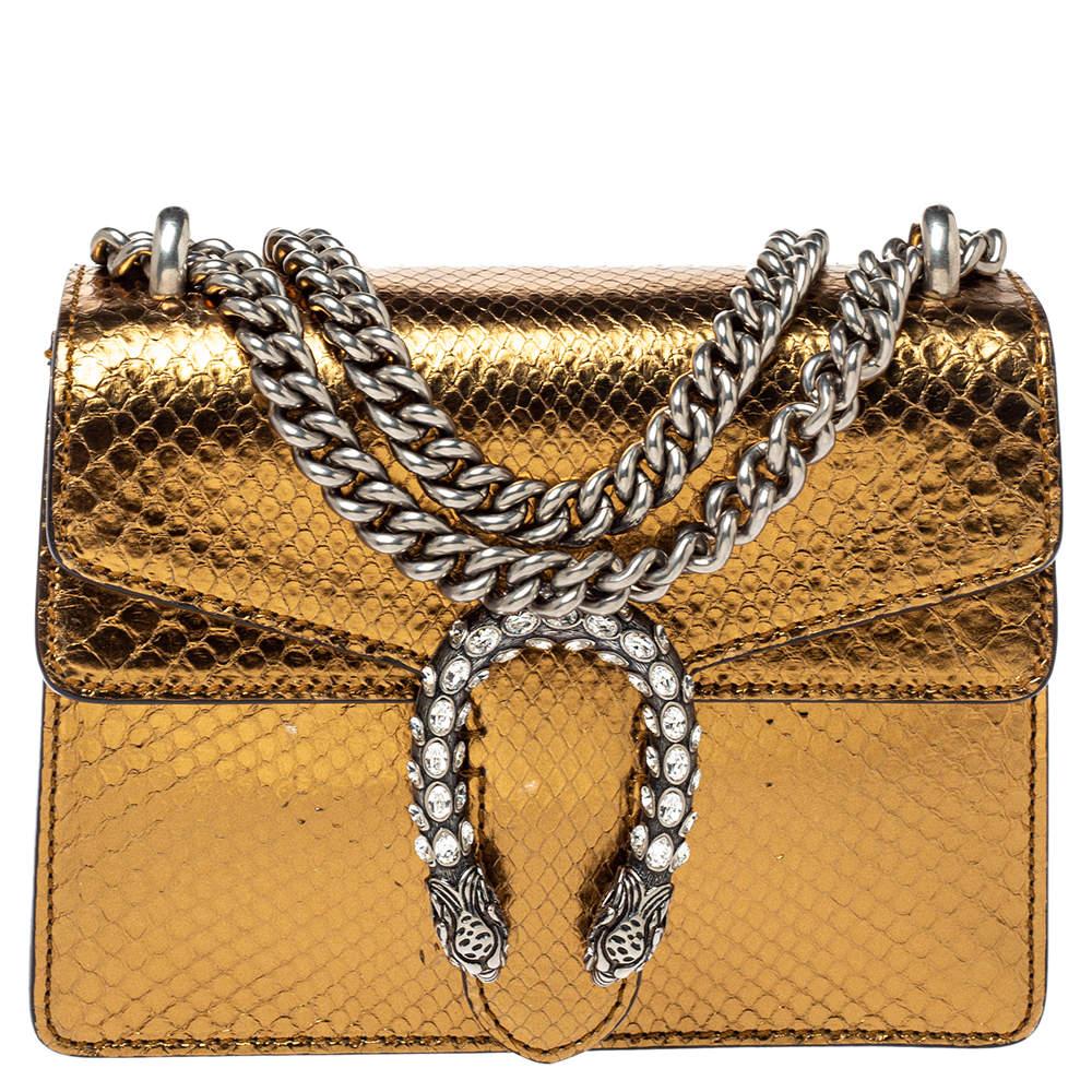Gucci Gold Python Mini Dionysus Shoulder Bag