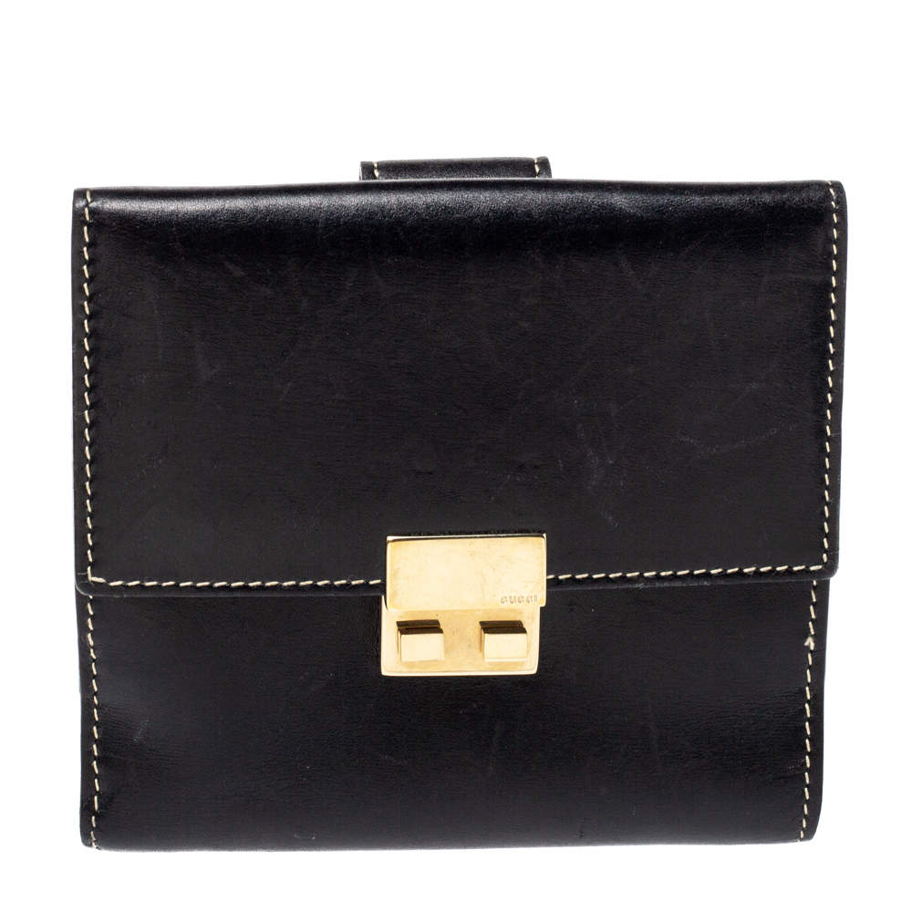 Gucci Black Leather French Flap Wallet