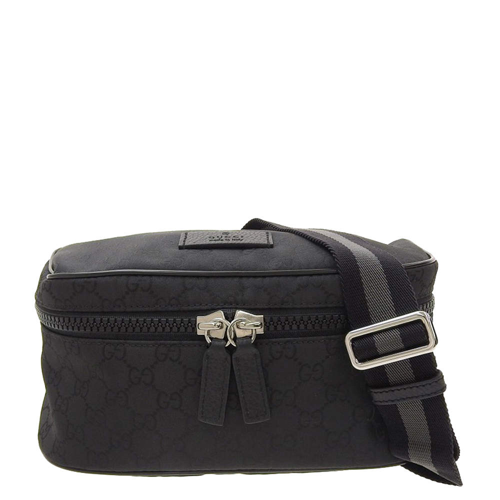 Gucci Black GG canvas/nylon Waist bag