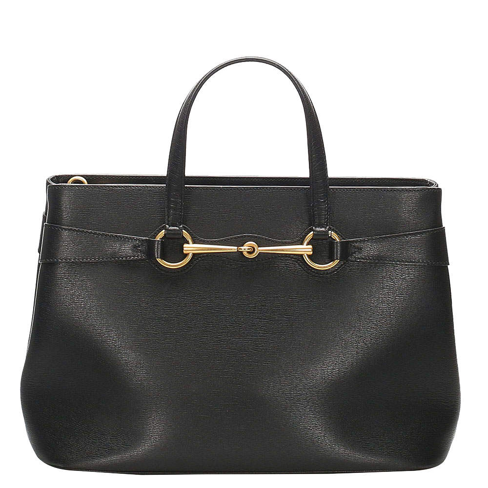 Gucci Black Leather Horsebit Satchel