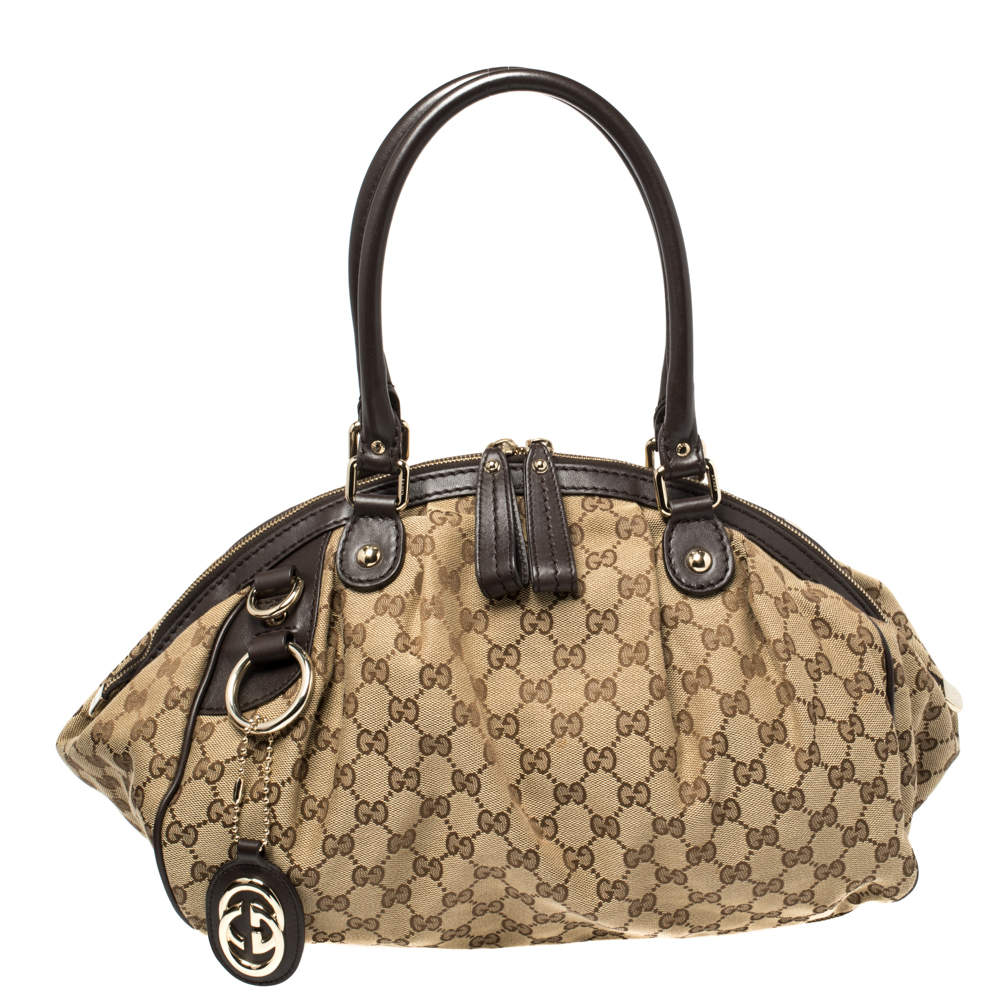 Gucci Brown GG Canvas and Leather Medium Sukey Boston Bag