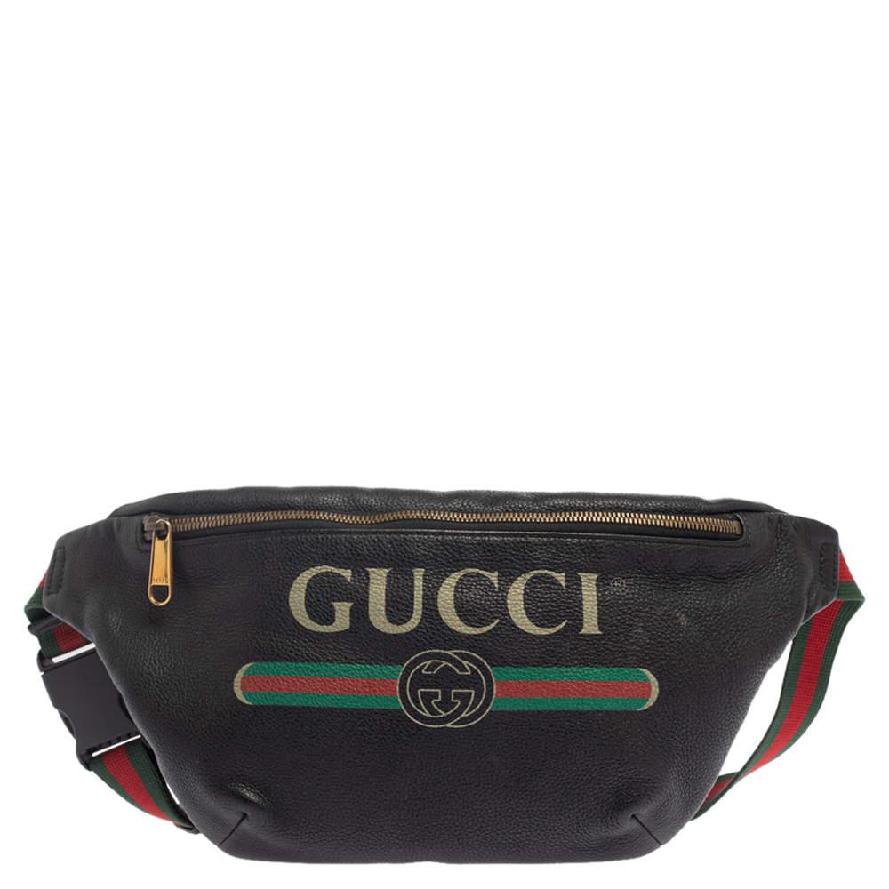 Gucci Black Pebbled Leather Logo Web Belt Bag