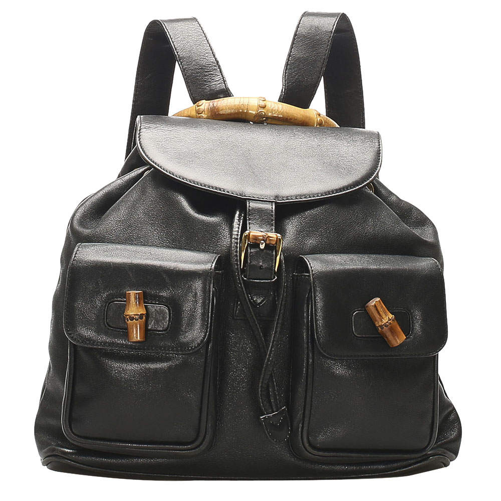 Gucci Black Bamboo Drawstring Leather Backpack