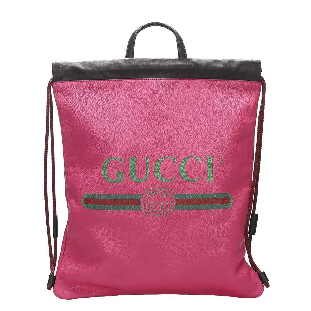Gucci Pink Logo Drawstring Leather Backpack