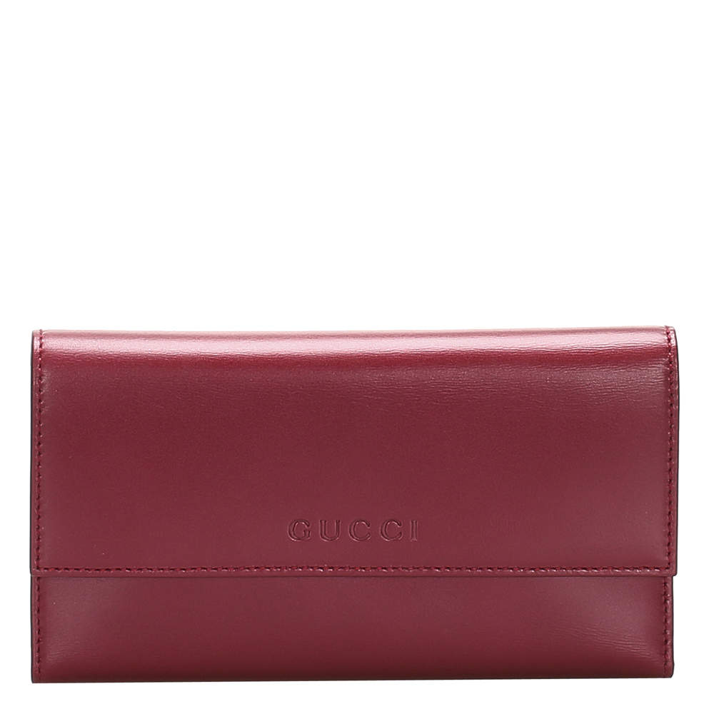 Gucci Red Leather Long Wallet