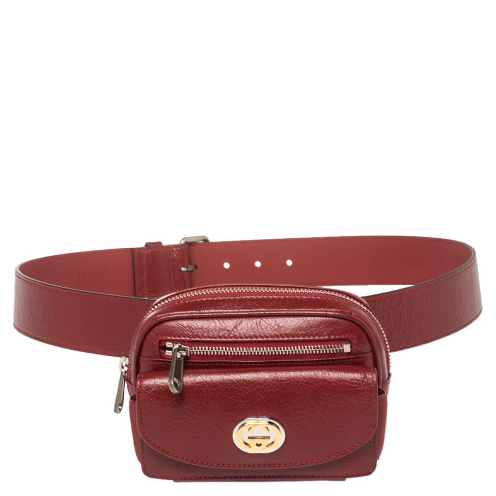 Gucci Maroon Leather Morpheus Mini Belt Bag