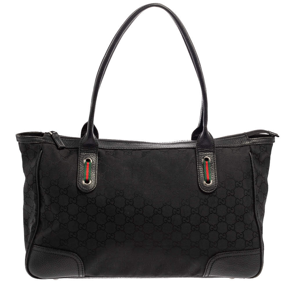 Gucci Black GG Nylon and Leather Medium Princy Tote