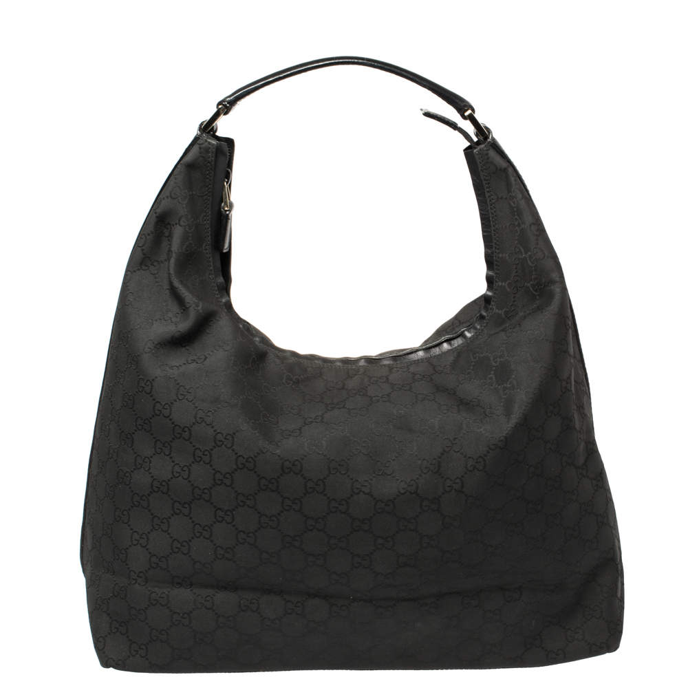 Gucci Black GG Nylon and Leather Top Zip Hobo