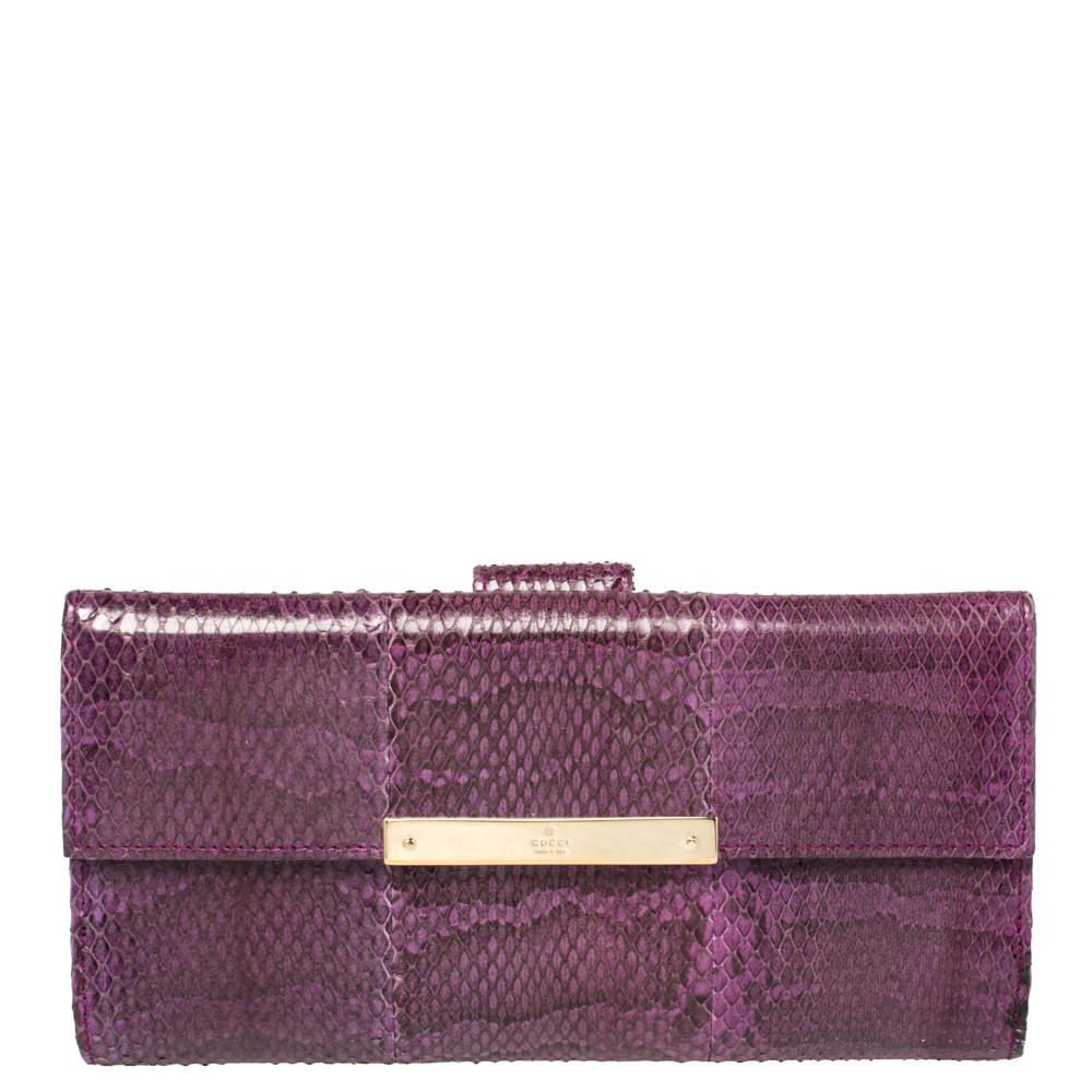 Gucci Purple Python Flap Wallet