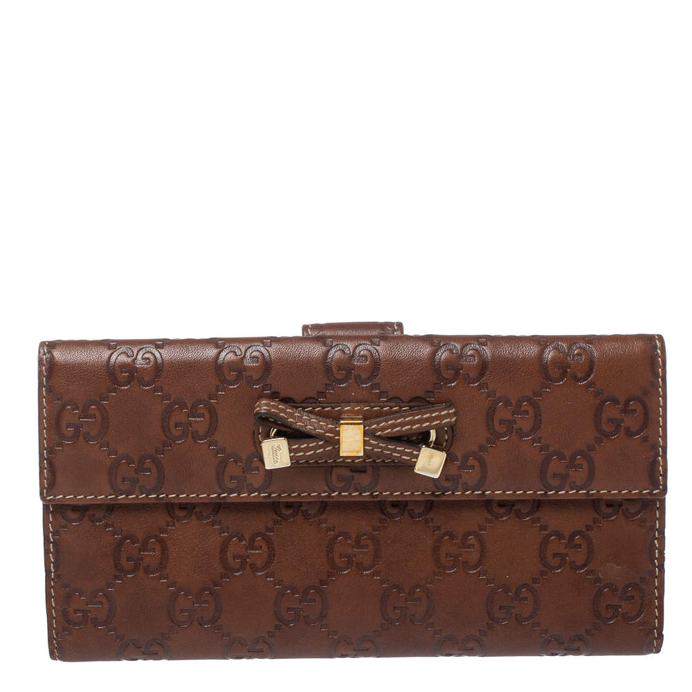 Gucci Brown Guccissima Leather Princy Continental Wallet