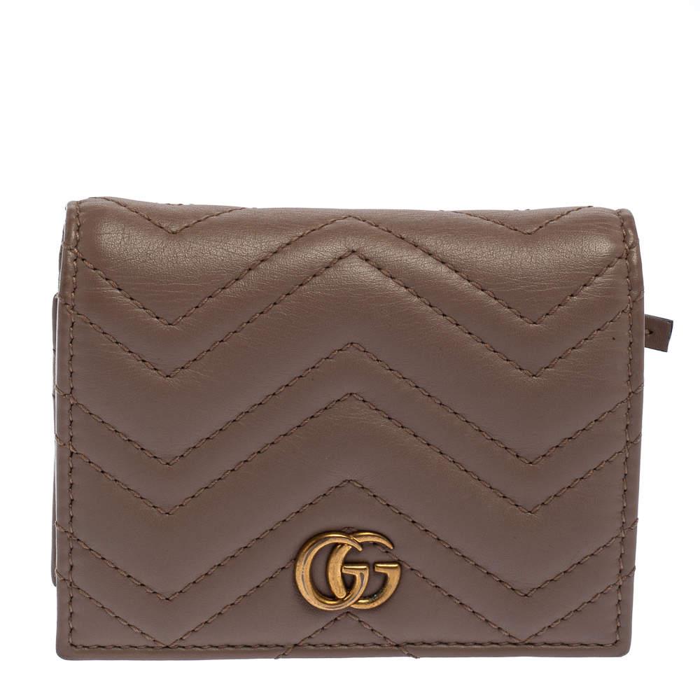 Gucci Dark Beige Matelasse Leather GG Marmont Card Case