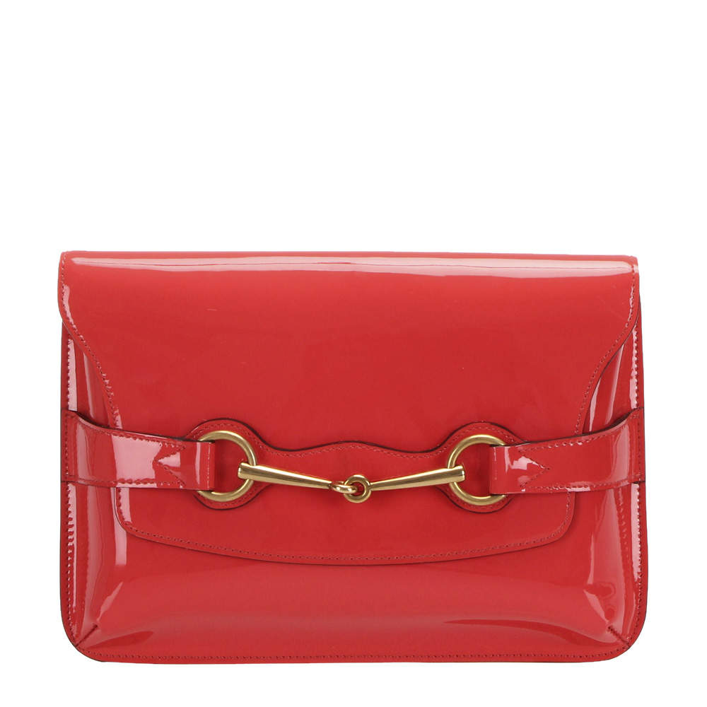 Gucci Red Patent Leather Horsebit Crossbody Bag