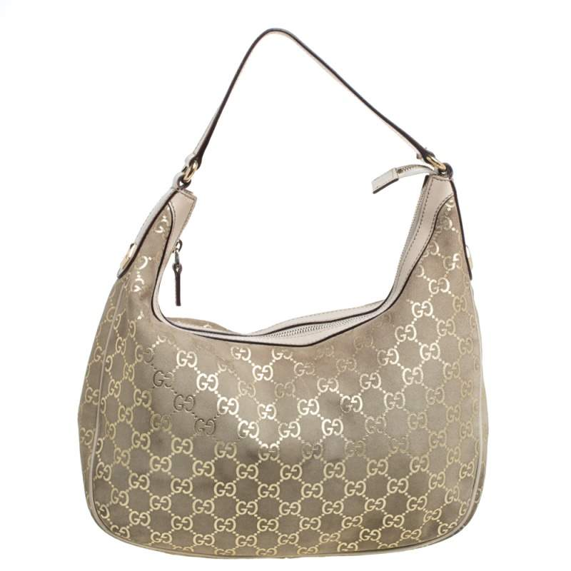 Gucci Beige GG Suede and Leather Charmy Hobo