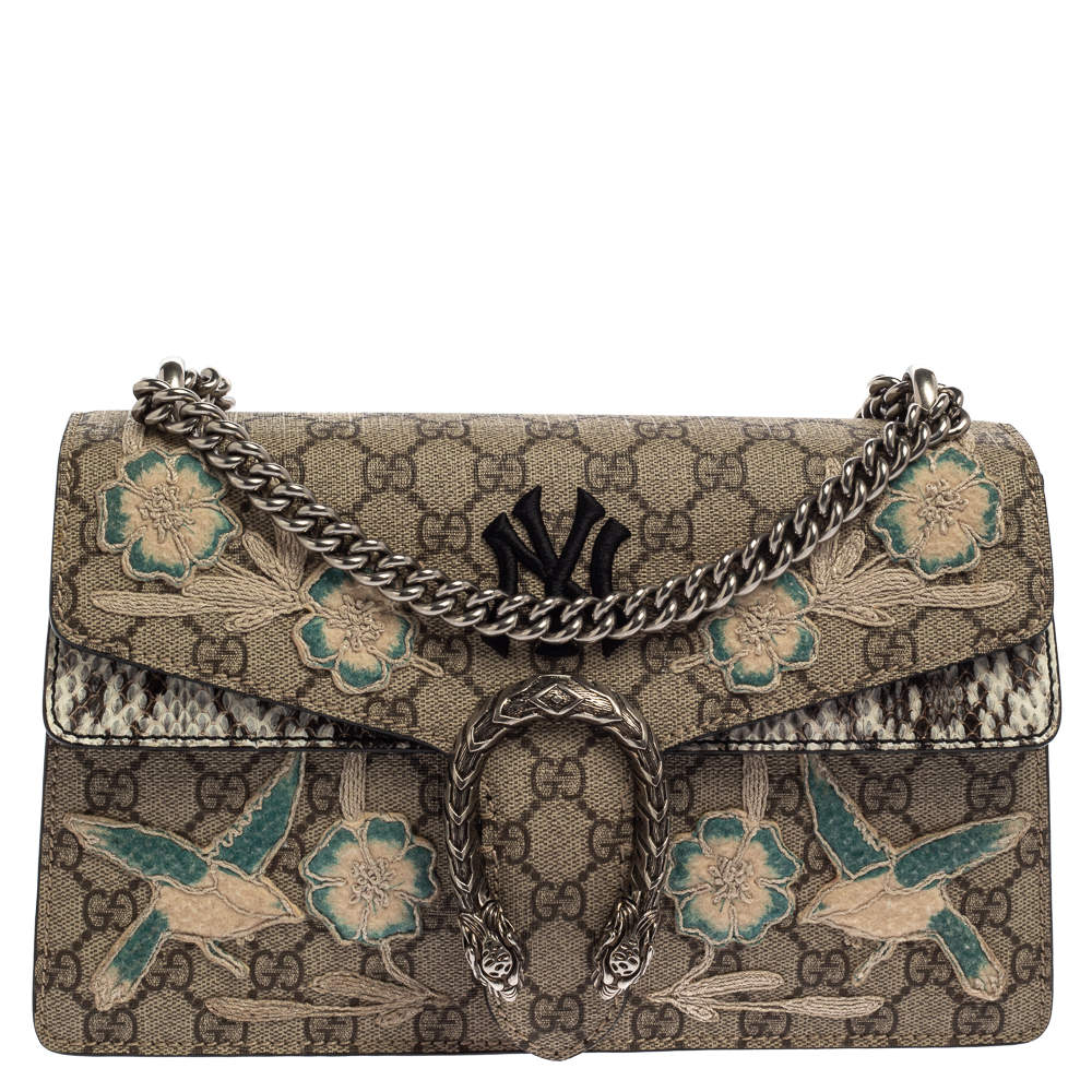Gucci Beige Embordered GG Supreme Canvas and Python Small NY Yankees Dionysus Shoulder Bag