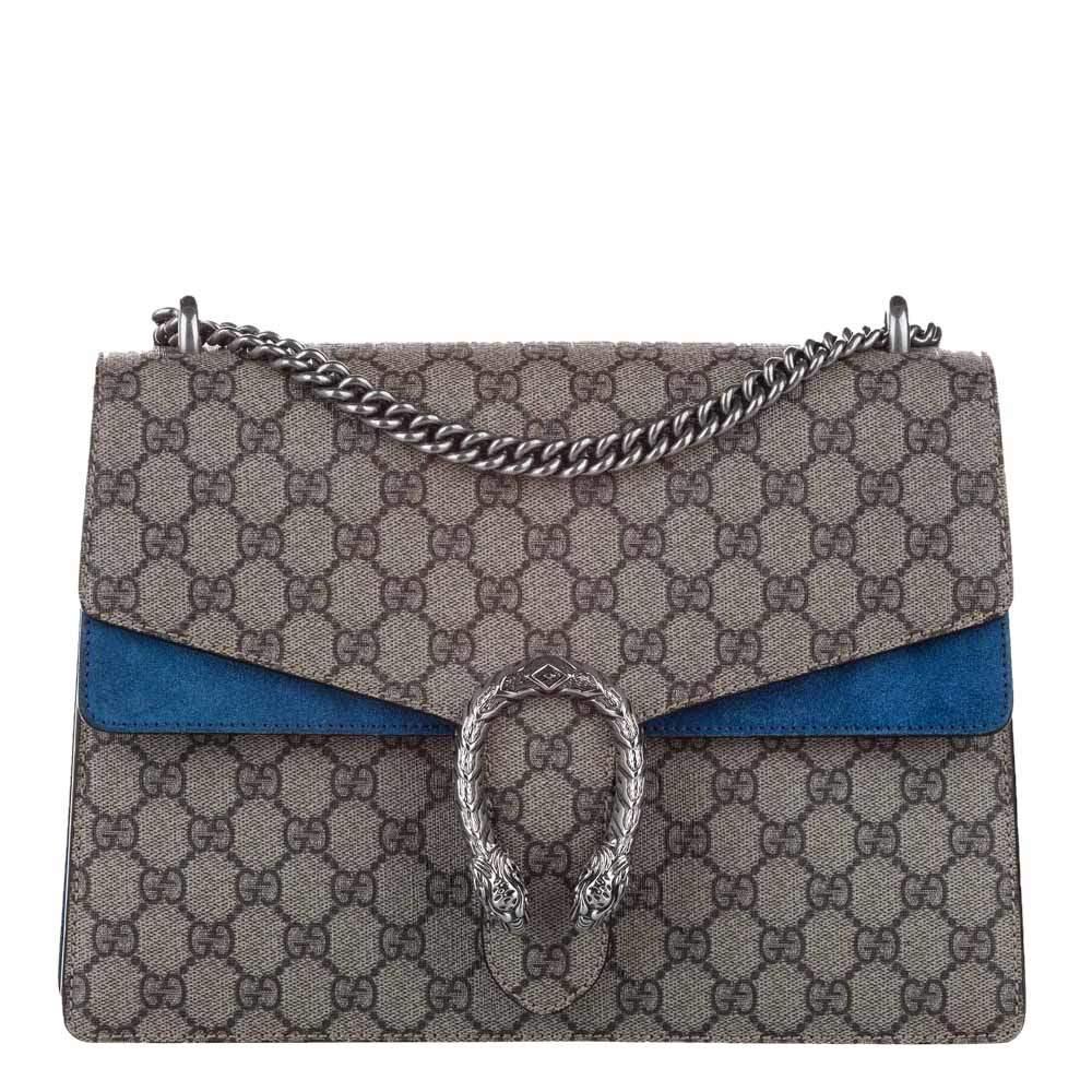 Gucci Brown/Blue GG Supreme Canvas Dionysus Medium Bag