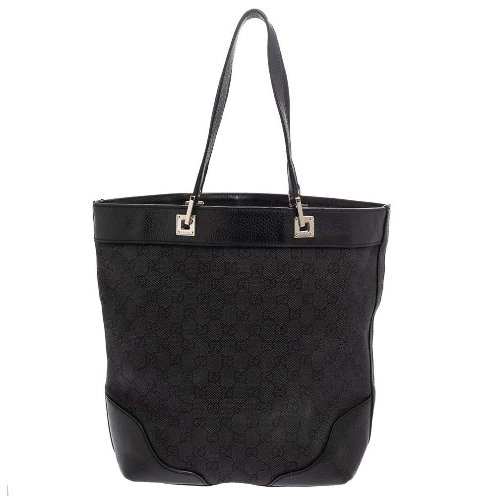 Gucci Black GG Denim and Leather Bucket Tote
