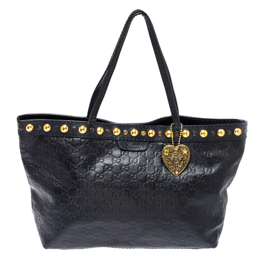 Gucci Black Guccissima Leather Medium Babouska Tote