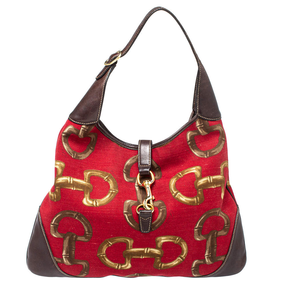 Gucci Red/Brown Horsebit Canvas and Leather Jackie O Bouvier Hobo