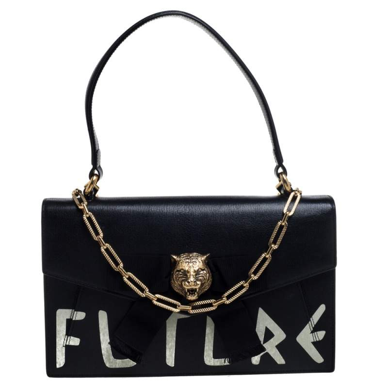 Gucci Black Leather Future Bow Top Handle Bag