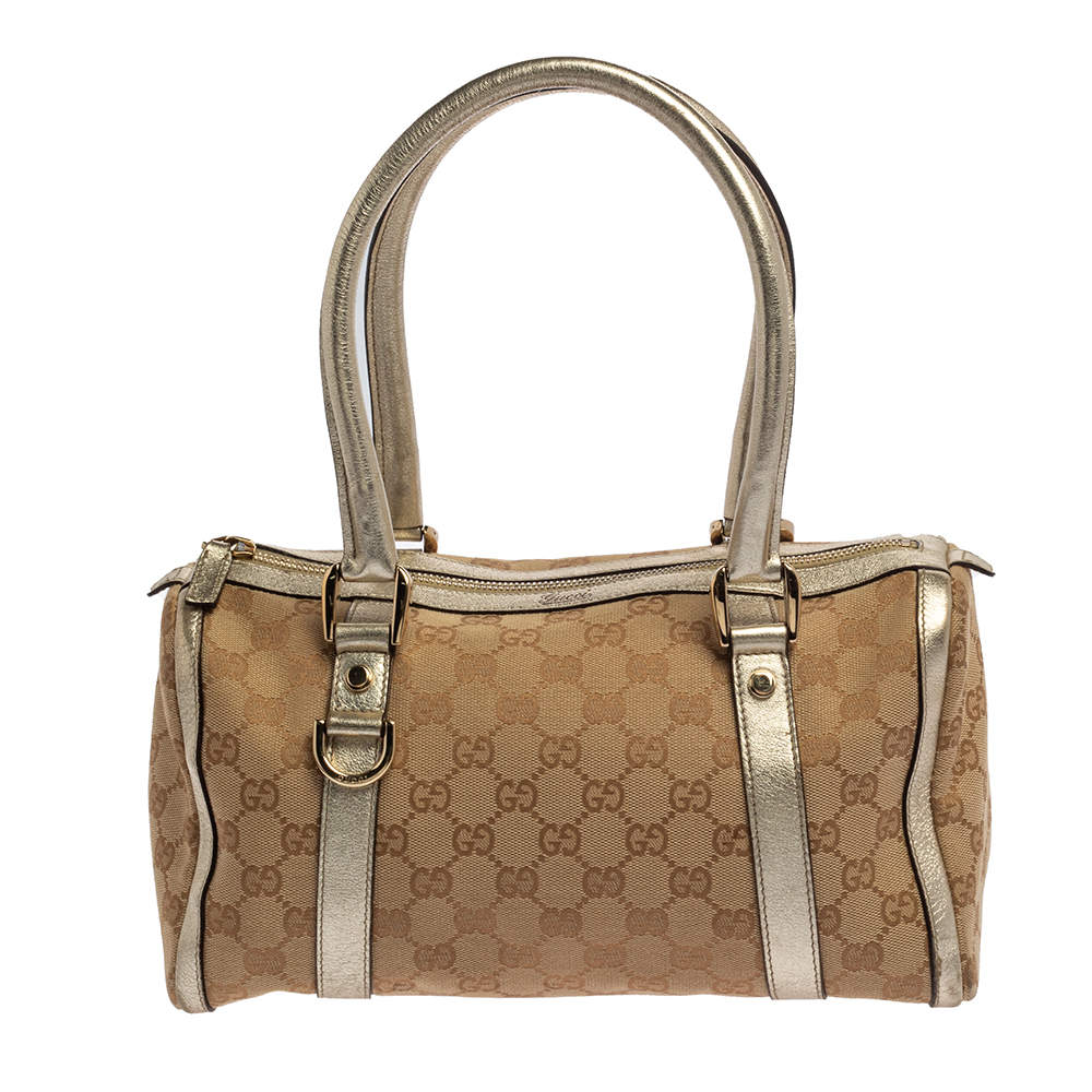 Gucci Beige/Gold GG Canvas and Leather Small Joy Boston Bag