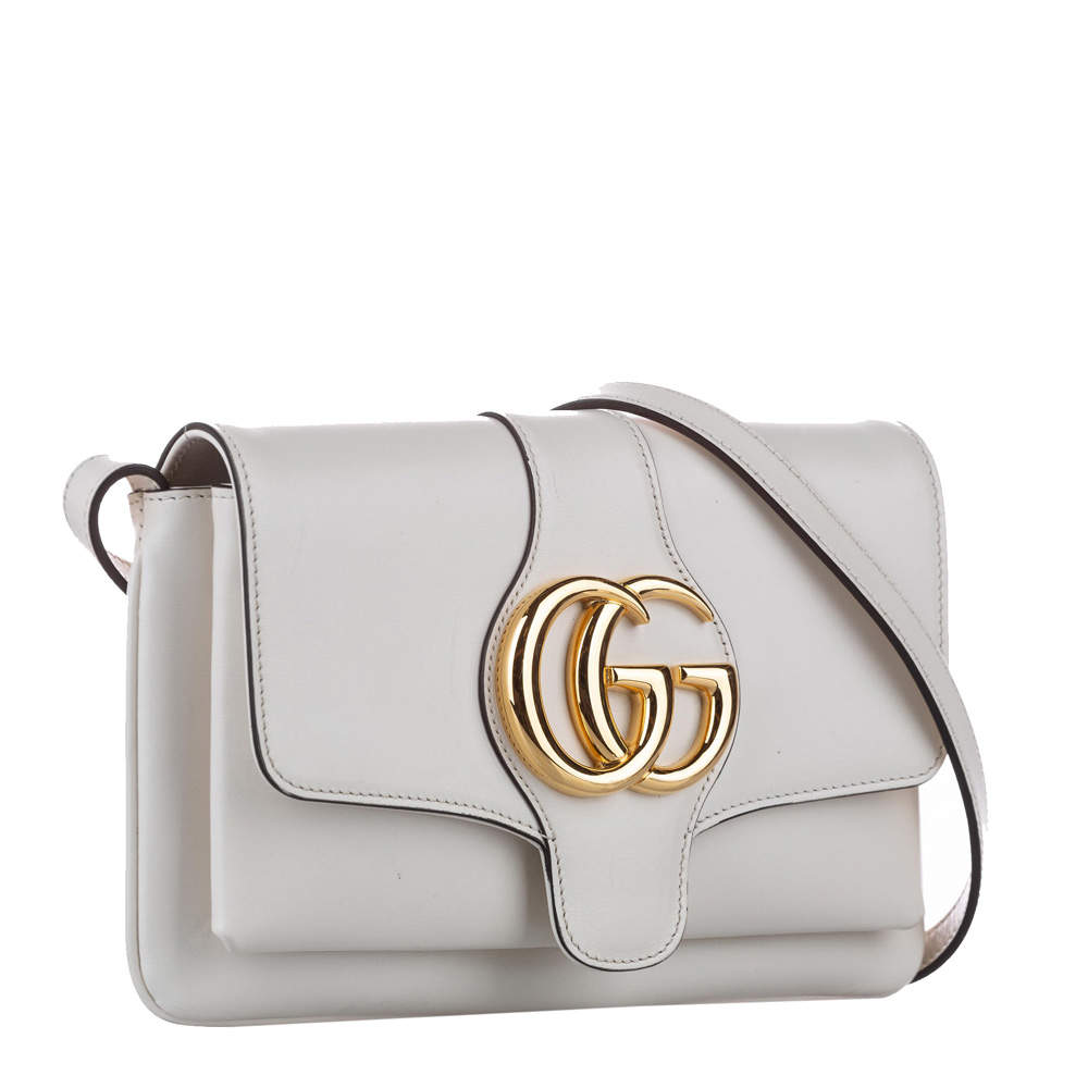 Gucci White GG Marmont Leather Aril Shoulder Bag