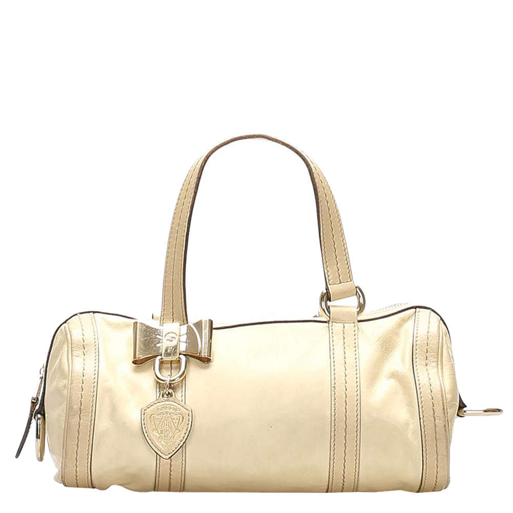 Gucci White Leather Duchessa Satchel Bag