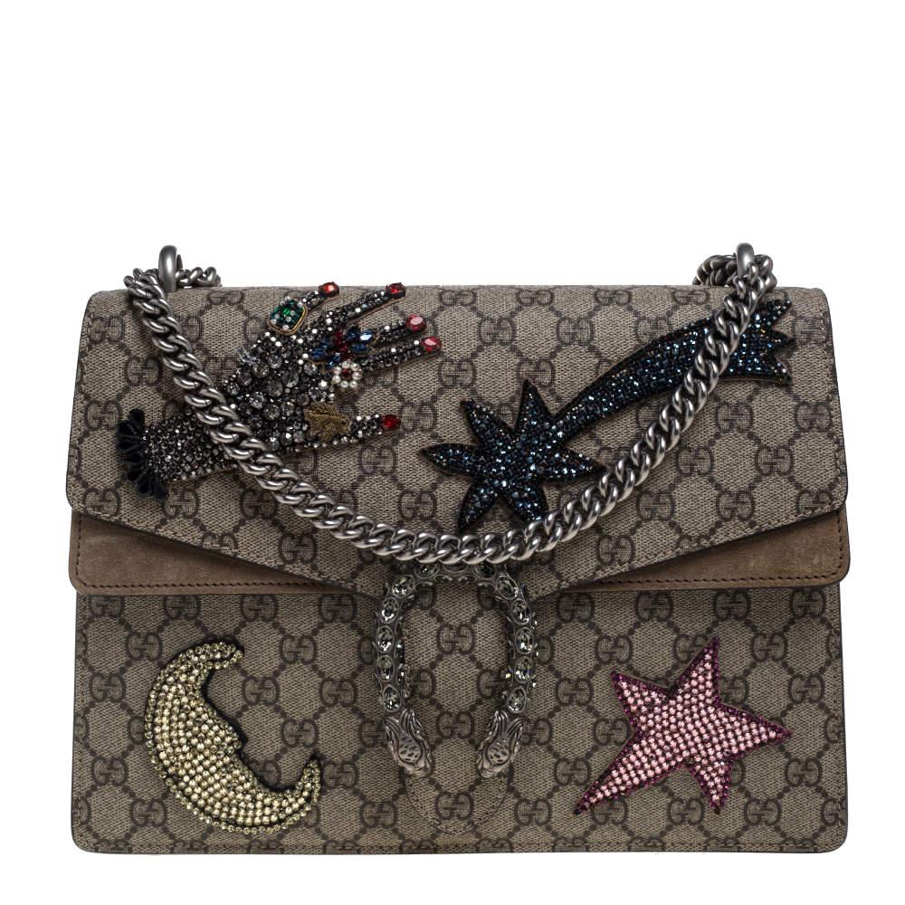 Gucci Beige GG Supreme Canvas and Suede Medium Crystal Embellished Dionysus Shoulder Bag