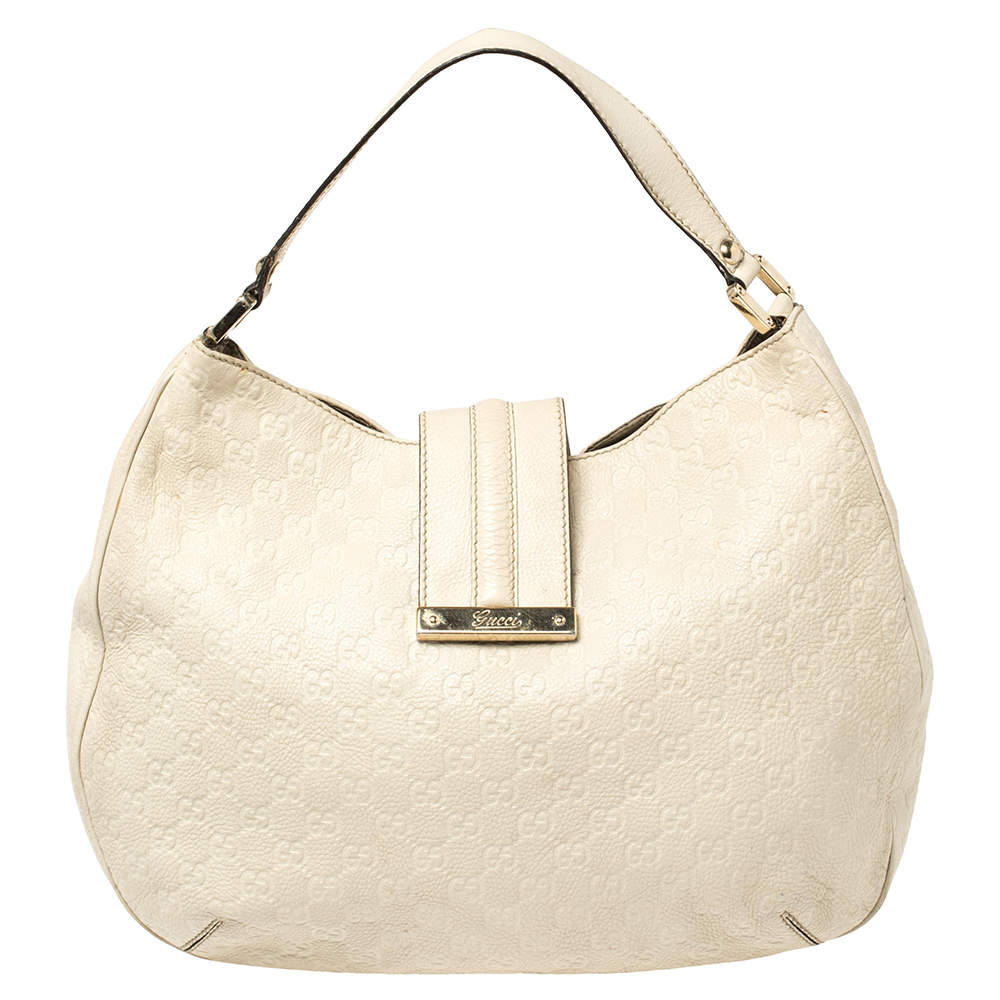 Gucci Ivory Guccissima Leather Medium New Ladies Web Hobo