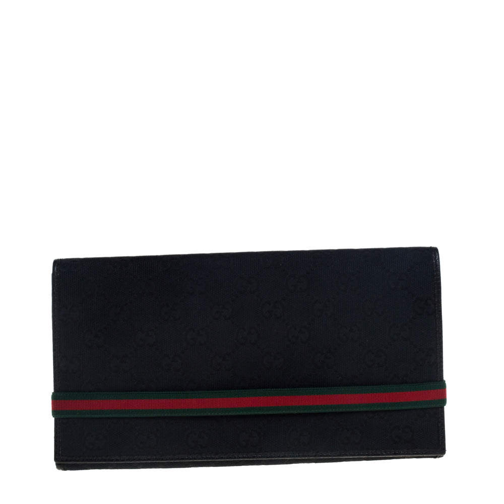 Gucci Black GG Canvas Web Stripe Clutch