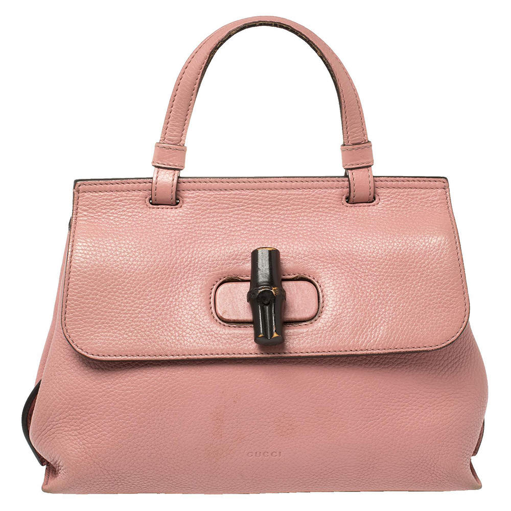 Gucci Pink Leather Small Bamboo Daily Top Handle Bag