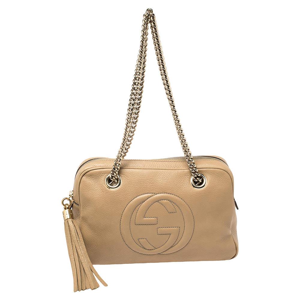 Gucci Beige Leather Medium Soho Chain Shoulder Bag